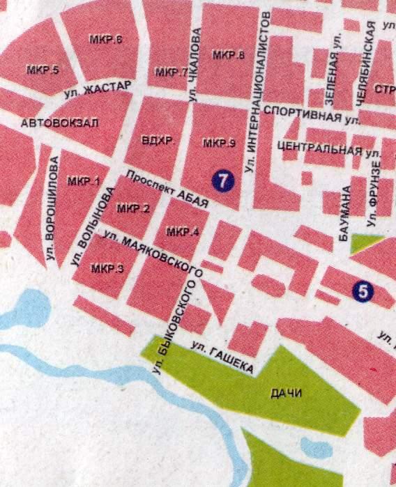 Карта Города Костанай